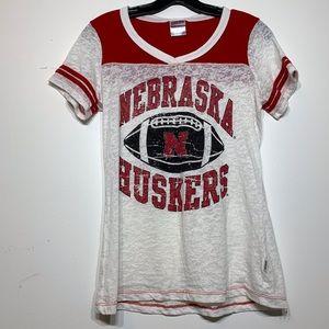 EUC Nebraska Cornhuskers burnout jersey style Tee